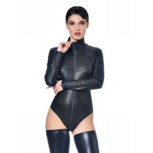 Patrice-Catanzaro-Sweety-Body-sexy-noir-a-zip-en-wetlok-laque-aspect-cuir