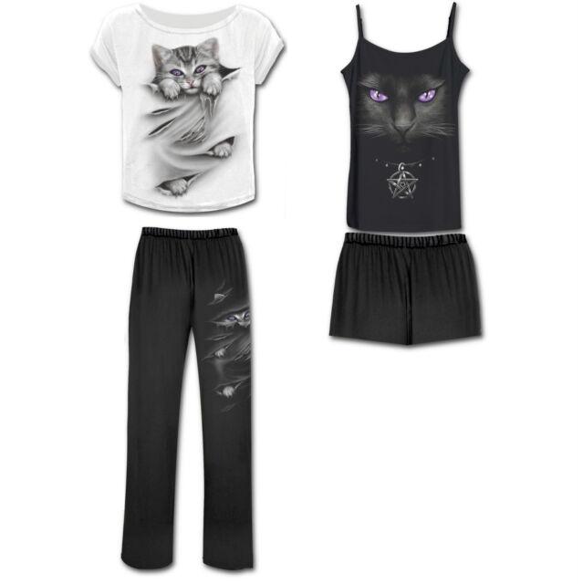 Spiral Direct Bright Eyes Witch Cat Kitten Black Gothic 4-Piece Pyjamas PJ Set