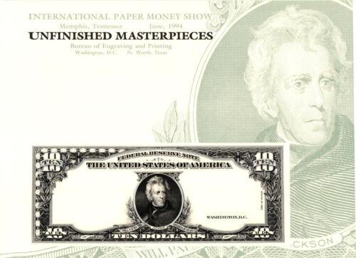 E .P 1994 B 1923 $10.00 Federal Reserve Note Jackson B184 Souvenir Card