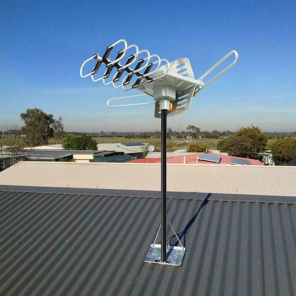 installers-choice 120 Mile 1080P 4K HDTV Outdoor TV Antenna Motorized Amplified 28dB 360° Rotation