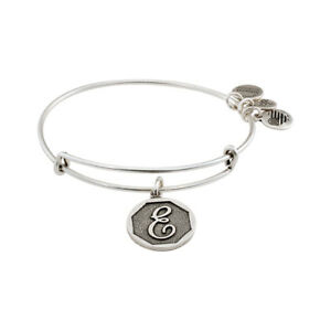 20f5920d498 Alex And Ani Initial E Charm Rafaelian Silver Finish Bangle Bracelet ...