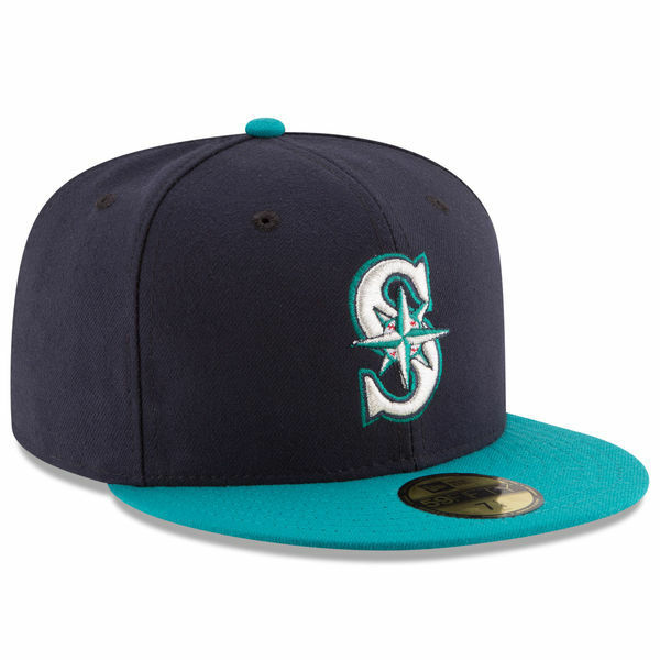54fb111a7 New Era 5950 SEATTLE MARINERS Alternate Cap 5950 Fitted MLB Baseball Hat  Navy