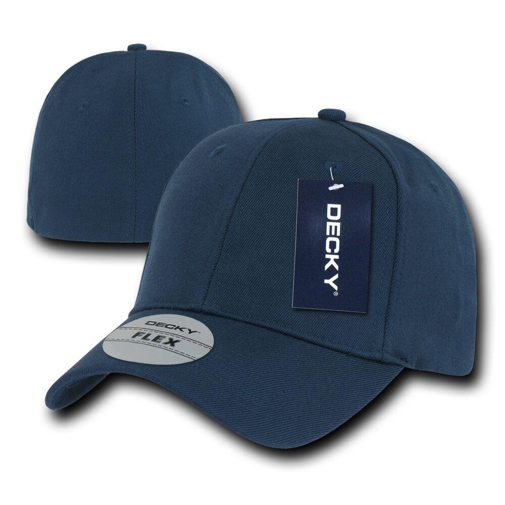 Navy Blue Plain Solid Blank Flex Baseball Fit Fitted Ball Cap Caps ... 1f7e9b7a549e