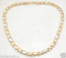 Diamond Cut Hugs & Kisses XOXO Stampato Chain Necklace Real 14K Tricolor Gold