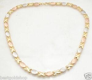 Hugs Kisses Stampato Chain Necklace 14K Tricolor Gold Clad 925