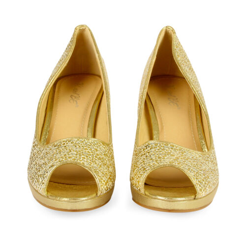 Pumps Gold Toe Mid 7 Heels Sandali Peep Sparkly Ladies Platform Womens Size 6pcq88