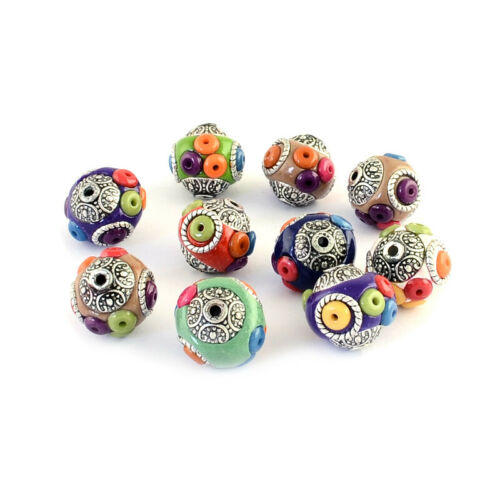 10pcs Handmade Clay Indonesia Beads Round w// Resin Seeds Antique Silver 14~15mm