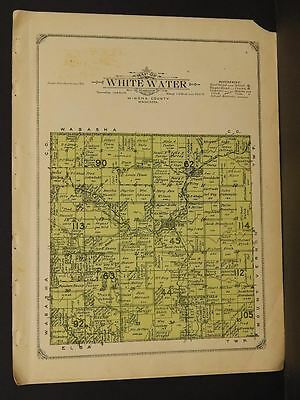 Maps, Atlases & Globes Minnesota Winona County Map White Water Township 1914 W5#11 Antiques