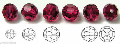 Czech Machine Cut Faceted Round Crystal Beads, Fuchsia, Superior Quality
