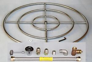 36 Stainless Steel Fire Pit Burner Ring Kit Natural Gas Fireglass