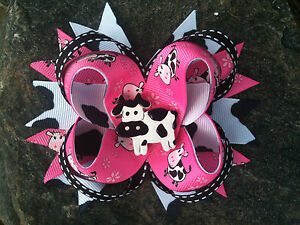 PINK MOO COW RESIN BOUTIQUE HAIRBOW