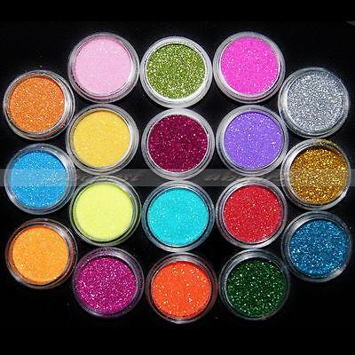 18 Colors 3D Shinny Glitter Acrylic Powder Dust Nail Art UV Gel Decor Tips Set