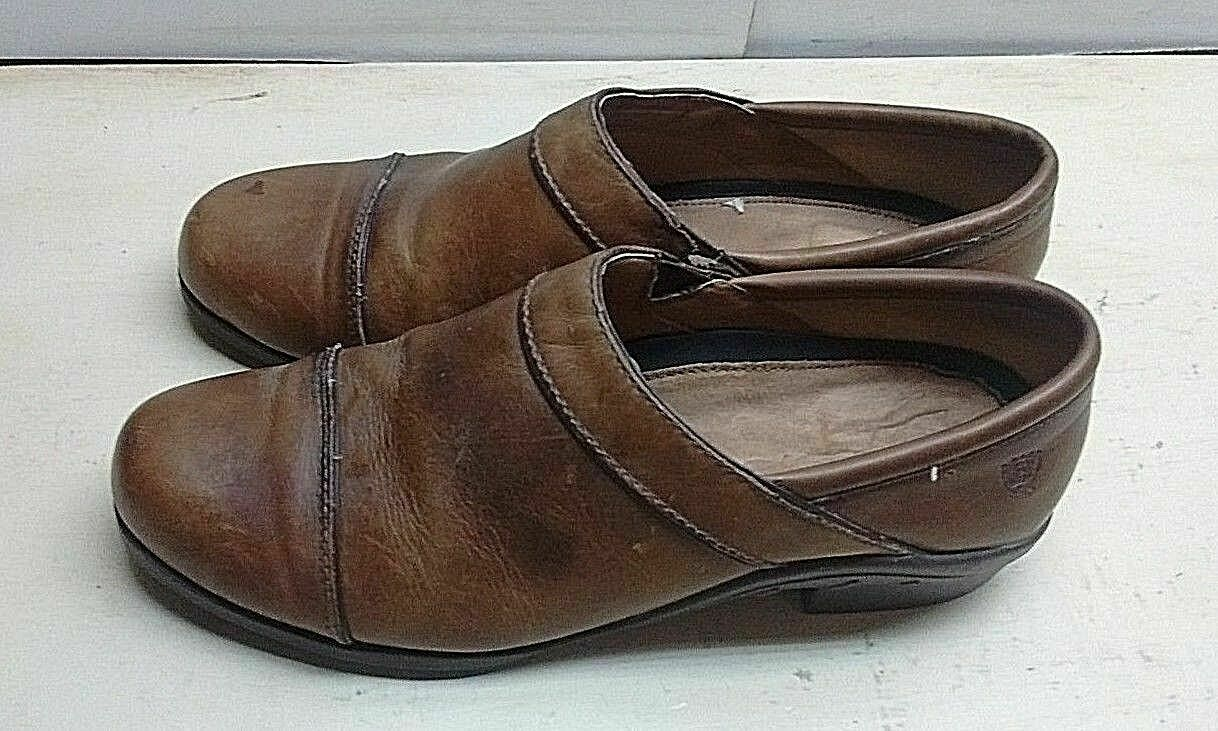Ariat Brown Leather Slip On Loafer Clogs Cap Toe Work Women Shoes Size 9.5B 40.5