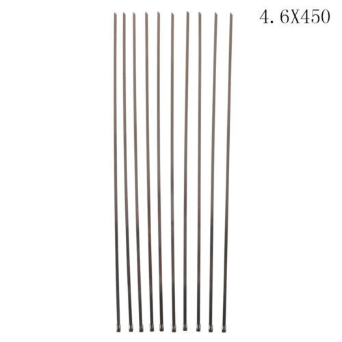 10Pcs Stainless Steel Metal Cable Ties Zip Wire Wraps Exhaust Straps BLUS