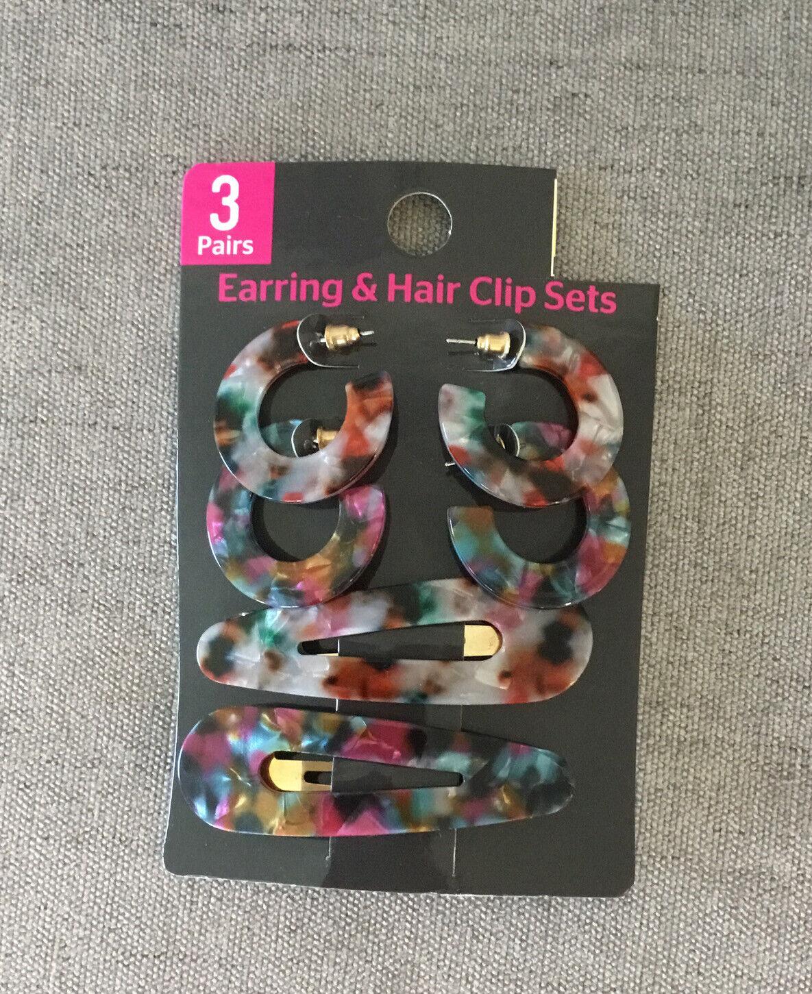 Modern Earrings & Hair Clip Set Animal Print Plastic 2 Pair Earrings 2 Hair Clip