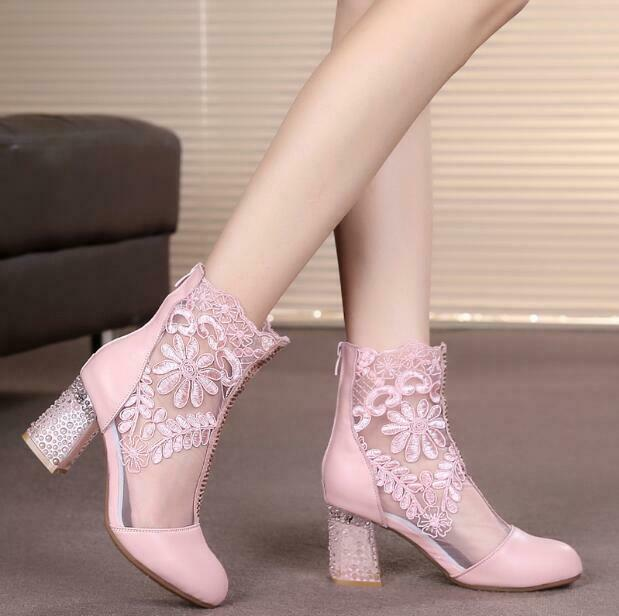Womens Leather Chunky High Heels Ankle Boots Sandals Back Zip shoes Hollow Lace