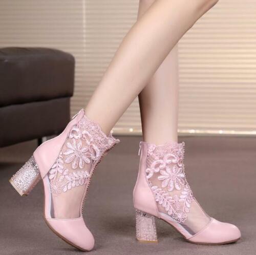 Back Hollow Zip Shoes Womens Stivaletti High Heels Leather Lace Sandali q74Spq
