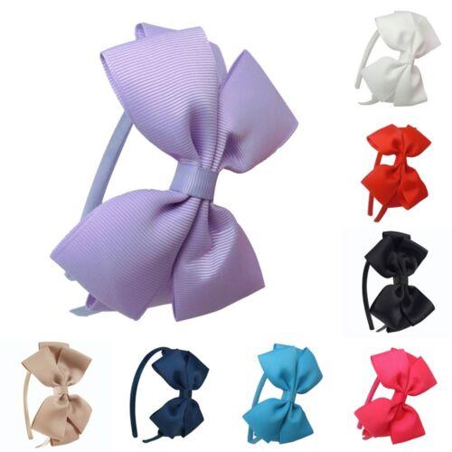 Kids Girls Cute Hair Bands School Bow alice Band headband Satin Fabric 8 Colours