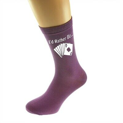 I/'d Rather be Playing Card Games with Cards Image Printed Ladies Purple Socks