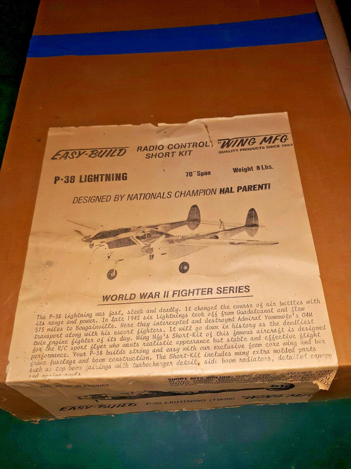 P38 Lightning 70  RC Airplane Kit WING MFG Easy-Build Short Kit vintage