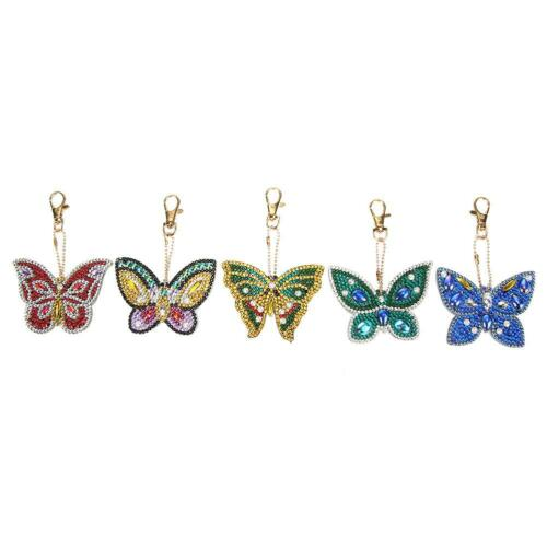 5pcs DIY Butterfly  Keychain Full Drill Special Shaped Art Diamond Painting  //ND