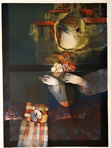 Alvar-Sunol-Limited-Edition-Lithograph-E-A-16-25-Artist-Proof-30x22-Blue-Window