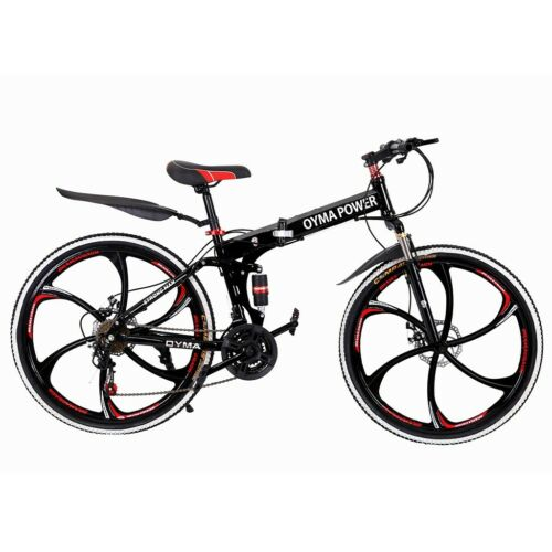 "Outroad Mountain Bike 21 Speed 26/"" Folding Bike Double Disc Brake Bicycles BLACK"