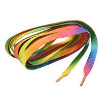 2 Pairs Flat Rainbow Shoe Laces Long Shoelaces Bootlaces 8MM Wide DS