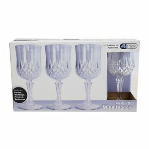 e31a3762bc1 Details about Pack of 4 Rigid Reusable Plastic Wine Glasses Dishwasher Safe  Crystal Style