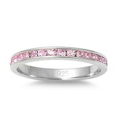 Personalized Sterling Silver eternity Ring Pink CZ - Free Engraving