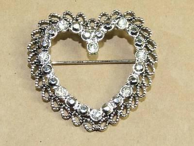"Vintage Silver Tone Filigree Marcasite & Rhinestone Open Heart Pin Brooch 1 5/8"""