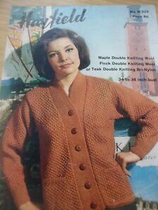 Glorieux Vintage Hayfield 1960 S Dk Knitting Pattern Femmes Col V Cardigan 34 - 38 In (environ 96.52 Cm)-afficher Le Titre D'origine
