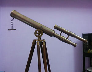 "Humor 18"" Antique Nautical Telescope Double Barrel W/tripod In Finish~xmas Gift Item Maritime Telescopes Factories And Mines"