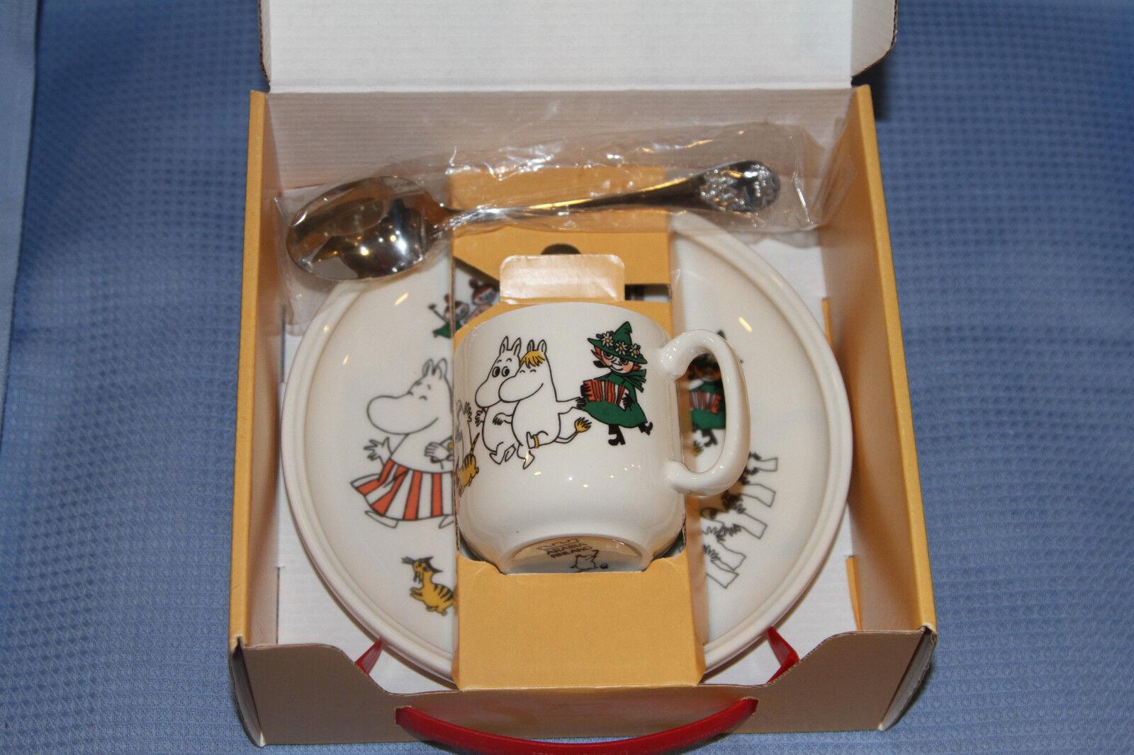 Arabia Moomin Tasse, Assiette et Cuillère  Merry famille enfant Set  1995