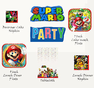 218 & Details about Super Mario Lunch Dessert Plate Napkin Plastic Table Cover Birthday Party Pack