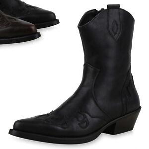 new concept f45b7 66a41 Details zu 892411 Herren Cowboy Boots Western Stiefel Holzoptikabsatz  Spitze Schuhe Top