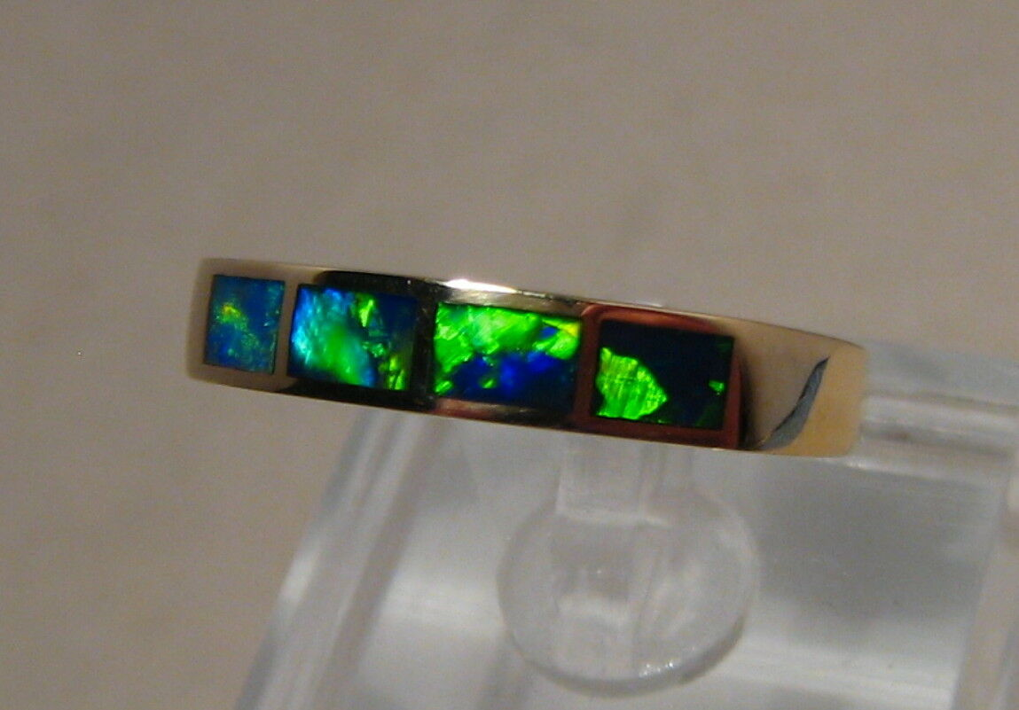 Brilliant Green Australian Opal  Ring 14k Yellow gold Size  9 1 4