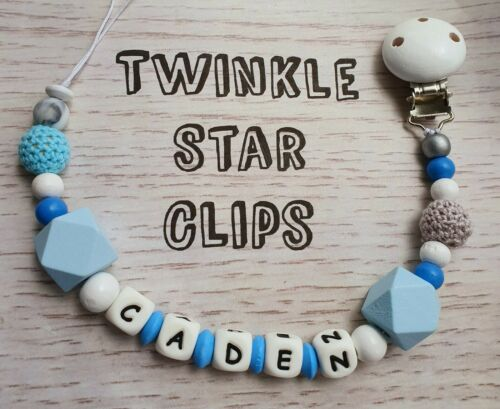 Personalised Wooden and Silicone Dummy Clip Crochet Beads Blue White Grey Baby