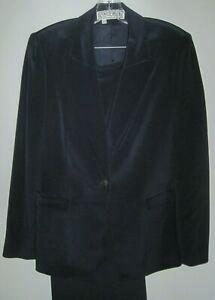Vintage-Carlisle-Size-12-Pants-amp-Size-6-Blazer-100-Silk-Stylish-Blue-Pant-Suit