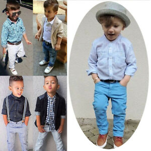 c12cabebf4ea0 Details about Valentine's Day Gentlemen Formal Suit Top Pants Clothes  Outfits For Baby Kid Boy