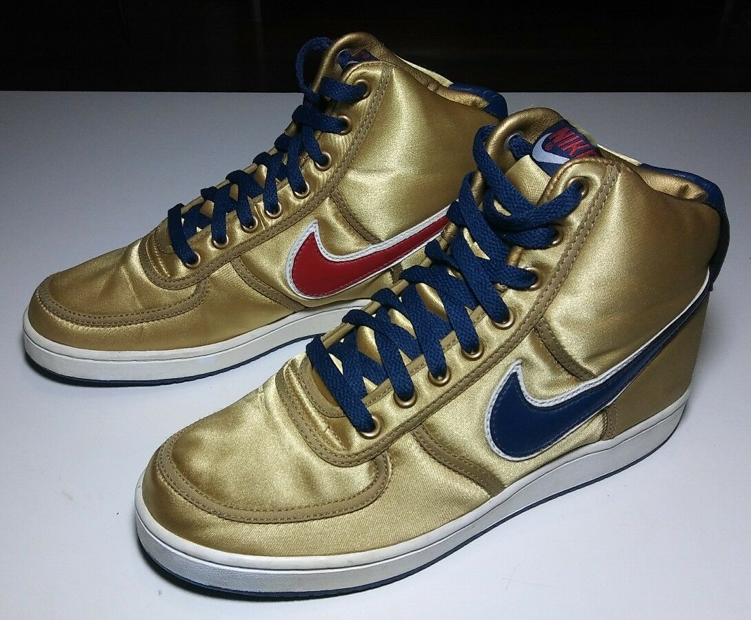 Nike Mens High Top Metalic gold Satin shoes Sz 8 RARE Must Hace Buy it SHIPSFAST