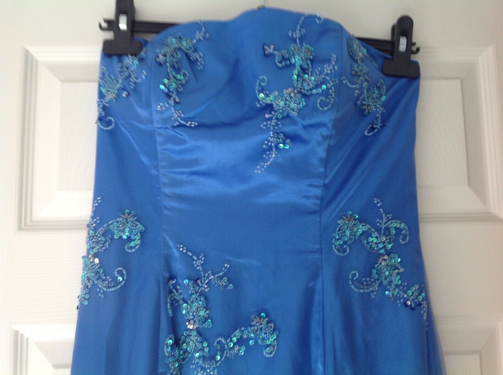 BELLISSIMO ballo abito da ballo Royal blu con Perline STECCATO Fishtail Maxi Abito