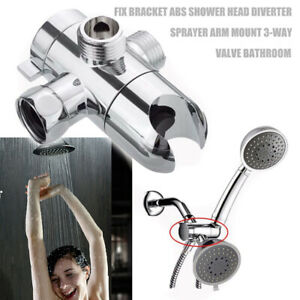 Shower Head Diverter Valve.Details About Abs Fix Bracket 3 Way Valve Sprayer Arm Mount Shower Head Diverter Bathroom