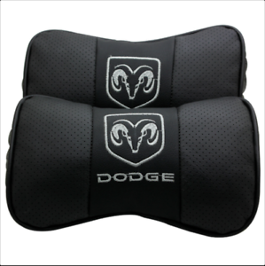 2Pcs Real Leather Car Seat Neck Cushion Pillow Car Headrest For Dodge Car Black