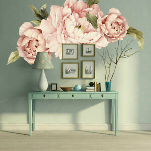 Large Pink Peony Flower Wall Stickers Nursery Baby Decal Kid Home Decor Gift DIY