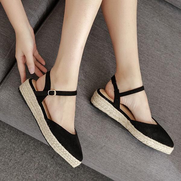 Sandali donna tacco tacco tacco basso 4.5 cm ballerine corda nero comodi simil pelle CW898 0af679