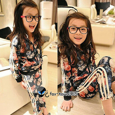 2016 Spring Kids Baby Child Girl Flower Velvet Hooded Coat+Trousers Sets 2-7Y