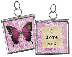 """Primitives by Kathy #18443 Inspirational square charm, """"I Love You"""""""