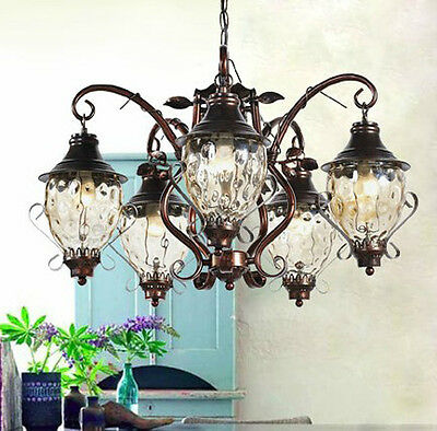 European Vintage Style 5xLights Chandelier/Hanging lamp/Droplight Iron&Glass