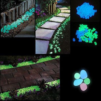 100x Glow In The Dark Pebbles Stone Home Garden Decor Walkway Aquarium Fish Tank
